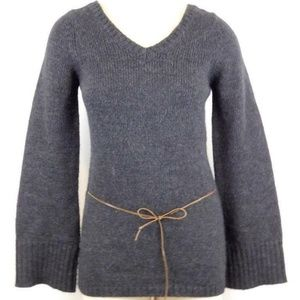Alpaca Blend Leather Belted Sweater